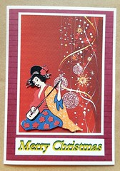 Christmas card 2_2016 (tengds) Tags: card christmascard handmadecard red maroon white blue orange yellow geisha shamisen papercraft tengds