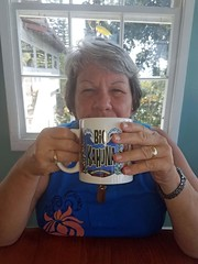 """Big Kahuna - No Mess Around"" (BarryFackler) Tags: bettyfackler bettybowen betty thecoffeeshack hotchocolate restaurant 2016 woman wahine female people breakfast drink drinking window dining mug cup coffeemug bigkahuna table rings backlit watch happy hawaii hawaiiisland hawaiicounty hawaiianislands sandwichislands polynesia westhawaii southkona barronfackler barryfackler bigisland kona"