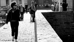 Woman on the quay (patrick_milan) Tags: saariysqualitypictures noiretblanc blackandwhite noir blanc monochrome nb bw black white street rue people personne gens streetview fminin femal femme woman women girl fille belle beautiful portrait face candide