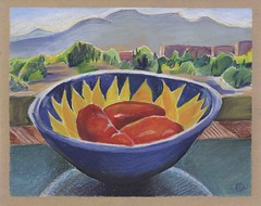 Tomatoes in a sunflower bowl inside, Jemez Mountains outside (Marcia Milner-Brage) Tags: landscape stilllife insideoutside santafe newmexico mountains food wickercoloredpaper neocoloriiwatersolublewaxpastels whiteinkbrushpen marciamilnerbrage