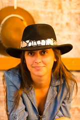 Cowgirl in Brooklyn (hkokko) Tags: girl cowboyhat stetson hat cowgirl cowboy eyes blackhat brooklyn newyork market smile portrait beauty