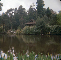 img118 (foundin_a_attic) Tags: lake water green trees blues greens light dark shadows garden japan china bridge tatton park with red chosn 1980 cross