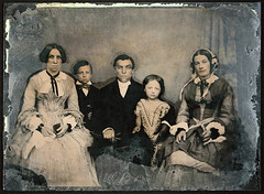 Henrietta Ashby, her brother George and his wife Mary and their children Francis and Emily - circa 1854 (Aussie~mobs) Tags: frome somerset england ambrotype glassplatenegative henriettaashby georgeashby maryannperrett emilyashby francisasberryashby aldhelmashby 1950s fashion family group portrait tinted aussiemobs