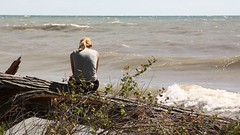 Sittin on a tree in the Lake (ricmcarthur) Tags: summer lake tree water waves sitting lakeerie watching sittin watchingthewaves ricmcarthur rondeauric rickmcarthur