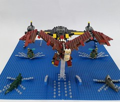 Battle Of The Blue Delta (other view). (Hendri Kamaluddin) Tags: monster dragon lego fantasy squadron moc fighterplane skyfi fantasycreature fantasyplane fantasybattle victorysquadron
