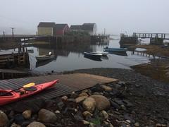 Foggy morning (halifaxlight) Tags: morning sea canada misty boats dock kayak quiet novascotia foggy shore sheds fishingvillage bluerocks