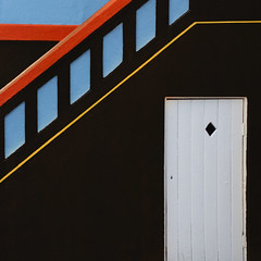 Knock knock (Arni J.M.) Tags: door blue red black building window lines yellow wall architecture iceland reykjavik diamond diagonal staircase knockknock