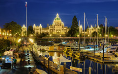 The Blue Hour View Of British Columbia Parliament Buildings and Inner Harbour, Victoria, Canada :: HDR (:: Artie | Photography ::) Tags: lighting longexposure people canada building water skyline architecture night photoshop canon buildings boats bc britishcolumbia tripod engineering parliament victoria wharf bluehour romanesque westcoast renaissance ef hdr innerharbour artie legislative neobaroque cs3 lightings 3xp f4l photomatix legislativeassembly 24105mm tonemapping tonemap 5dmarkiii 5dm3