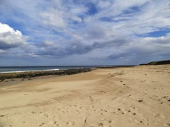 107. St Combs Beach (GraynKirst) Tags: blue sea summer sky cloud beach water clouds landscape coast scotland seaside sand scenery rocks aberdeenshire shoreline bluesky coastal shore northsea stcombs kirstyjarman