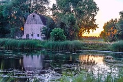 Barn Reflections (Doug Wallick) Tags: sunset summer white water minnesota barn long elko eposure