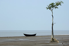 On the blue shore of silence ... (Synthia Mazumder) Tags: sea boat solitude greentree pabloneruda kuakata laburchar