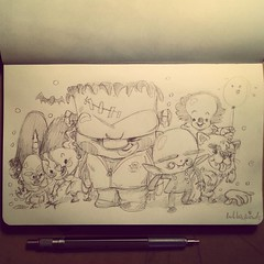 #halloween #drawing #sketchbook - some old school guys :) (bubblefriends) Tags: halloween pencil square sketch nosferatu character sketchbook frankenstein squareformat brannan monsters moleskin bubblefriends iphoneography instagramapp uploaded:by=instagram