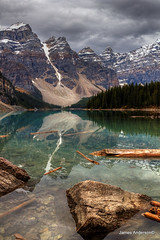 Rock with a view (JA Photography - Be There, Out There) Tags: mountain canada reflection alberta banffnationalpark morainelake valleyofthetenpeaks glaciallake mountainreflections reflectingmountains