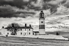 Souter Lighthouse mono (robinta) Tags: monochrome mono blackandwhite moody brooding dramatic clouds sky lighthouse architecture building historic landmark old tower nationaltrust light shadows detail contrast souter pentax ks1 whitburn pentaxdal1855mm