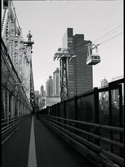 (OQ62) Tags: street nyc newyorkcity bridge blackandwhite bw film analog mediumformat island fuji pentax roosevelt queens borough 100 6x45 tramway boro 59th queensbridge fujineopanacros pentax645n
