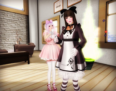 Strike a Pose (littlerowan) Tags: doll transformation makeup lingerie lolita makeover egl dolly petticoat bloomers dollface gothiclolita pannier thighhighs stripedsocks hairbows himelolita katat0nik pixicat