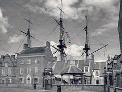 Historic quay masts.. (ocean rain) Tags: hartlepoolhistoricquay selectivecolour hdrtonemapping pointshoot nikon picmonkey texture sails masts sky clouds