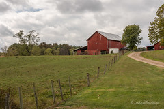 Ohio Red Barns (John H Bowman) Tags: ohio washingtoncounty barns ohiobarns redbarns tinroof fencesandgates rural cloudyskies october2016 october 2016 canon2470l