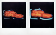 Logan's Shoe Shop Neon (tobysx70) Tags: the impossible project tip polaroid slr680 frankenroid sx70 door rollers color film for 600 type cameras impossaroid logans shoe shop west hickory street denton texas tx neon sign lit illuminated night nocturnal bokeh outoffocus oof diptych over50yearsofservice polacon2016 polaconone 100116 toby hancock photography