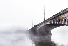 Notes from Prague - misty morning... (toncheetah) Tags: mist fog prague praha river water flickrtravelaward beautifulprague banksofvltavarive reflection