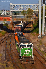 "Westbound Transfer in Kansas City, MO (""Righteous"" Grant G.) Tags: bnsf burlington northern railroad railway up union pacific kansas city missouri train trains west westbound transfer freight yard job emd"