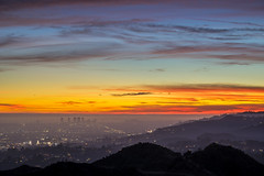 LA Sunset (clarsonx) Tags: losangeles california griffithpark hollywoodhils centurycity westla la sunset twilight dusk bluehour aerial cityscape city landscape fog smog haze hazy rainbow color roygbiv