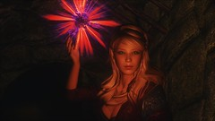 TESV - Starburst (tend2it) Tags: kenb elder scrolls skyrim v rpg game pc ps3 xbox screenshot sweetfx enb krista demonica race sg lilith 161 felicia arcane mage magic magik cast caster spell green eyes blond hair mods starburst red blue glow flash orb