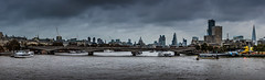 A London Selfie (DobingDesign) Tags: panorama city london londonarchitecture londonskyline thames cloud overcast bridge waterloobridge acrosstheriver water waterside shard cheesegrater stpaulscathedral walkietalkie bluehour southbankcentre tower42 architecture buildings structure boats cranes construction somersethouse outdoor waterfront cityskyline