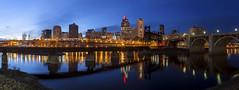 Bridges over the Mississippi (Sam Wagner Photography) Tags: stpaul pano panoramic panorama cityscape blue hour twilight sunset mississippi river bridges lift long exposure reflections skyline minnesota midwest twin cities first 1st national bank building red neon sign wabasha robertst union pacific vertical bridge