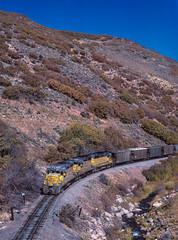 Climbing Wanship Canyon, MP 15, October 5, 1985 (blair.kooistra) Tags: unionpacific gp30 parkcity webercanyon ogden echo utah utahrailroads branchlinerailroads