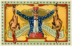 Thanksgiving Greetings from Uncle Sam (Alan Mays) Tags: ephemera postcards greetingcards greetings cards paper printed thanksgiving holidays november turkeys birds poultry animals food patriotic stars stripes unclesam men hats beards borders illustrations banners scrolls scrollwork curves red white blue gold yellow antique old vintage typefaces type typography fonts postcardpublishers as