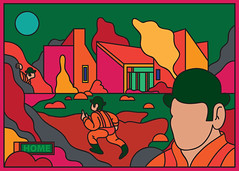 unexpected visit (scott balmer) Tags: exhibition artshow gallery1988 film movie aclockworkorange postcard graphic vector retro korova alex droog vivd color colour
