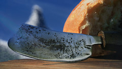 Butter knife . Studio light paiting with Halo lamp. (fortunephotographie) Tags: studio light painting halo lamp still life butter knife forge forged craft homemade morning breakfast mountain alps snow blue sky lunch macro