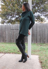 Thanksgiving (Foxywalk) Tags: boots chinese asian heel black thighhigh overtheknee legging leather lady portrait
