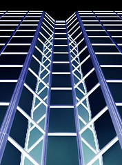 Symmetry (Karen_Chappell) Tags: negative abstract architecture glass windows reflection reflections stjohns building perspective blue black white geometry geometric rectangle lines line