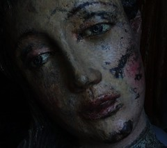 baroque sculpture (*F~) Tags: sculpture portuguese baroque woman emotion dark darkness poetry face wood art