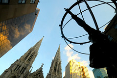 Quad (floralgal) Tags: nyc newyorkcity church god spires manhattan stpatrickscathedral rockefellercenter atlas midtownmanhattan highrisebuildings churchspires creativecomposition ornatearchitecture highriseskyscrapers stpatrickscathedralnewyorkcity circularsphere leelawrie1937 titansphere famousbronzestatuerockefellercenter bronzestatuerockefellercenter