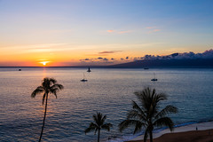 Ka'anapali Sunset, Maui - 11 (www.bazpics.com) Tags: ocean trees sunset sea beach island hawaii hotel islands us honeymoon view unitedstates pacific dusk balcony maui palm hi viewpoint lahaina kaanapali
