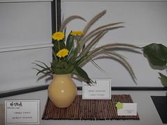 "Gerbera Daisy, Grass, Greens & Lavender by Mary Johnson ""Koryu School"" (nano.maus) Tags: lauritzengardens japaneseflowerarrangement omahabotanicalsociety japaneseambiencefestival"