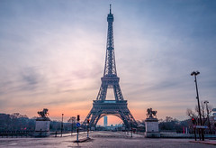 A Quiet Morning in Paris (IRRphotography) Tags: paris eiffeltower empty city streets france sunrise stoplight statues bridge urban europe europa calm longexposure morning quiet clouds sky blue canon eos wideangle 1740mm llens 70d