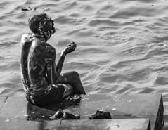 A street Portrait (sinharoykoushik) Tags: street portrait water photography soap kolkata ganges ghat chappal