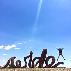 'Summer In Australia' - December, 2015 (aus.photo) Tags: blue summer sky sculpture art girl jump jumping artwork australia arboretum canberra leap act leaping ausphoto canberrainternationalarboretum
