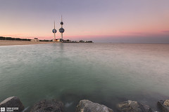 Kuwait - Classical View Of Kuwait Towers At Sunset (Sarah Al-Sayegh Photography | www.salsayegh.com) Tags: sunset seascape beach canon landscape photography rocks cityscape towers kuwait q8 kuwaittowers leefilter leefilters canon1635mmf28lusmii canoneos5dmarkiii wwwsalsayeghcom sarahhalsayeghphotography infosalsayeghcom