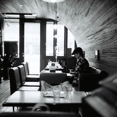 monochrome afternoon (**mog**) Tags: portrait rolleiflex cafe xp2super400