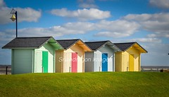 beach huts (Snapdragon Lincs) Tags: scenery sand sea summer landscape mablethorpe beach huts seaside lincolnshire beautiful colourful bright sunshine blue skies