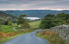 The Struggle, a narrow road which runs  from Ambleside, beside Lake Windermere, to the top of the Kirkstone Pass, Lake District, Cumbria, Uk, Gb (PANDOOZY PHOTOS) Tags: autumn october picturesque scenic british english countryside lakedistrict thelakedistrict nationalpark flint stone old wall walls road small thestruggle scenery fell fells hill hills mountains mountain trees grass narrow gb uk unitedkingdom ambleside cumbria district dry kirkstone lake national park pass struggle tree landscape aonb rural cumbrian windermere kirkstonepass lakewindermere