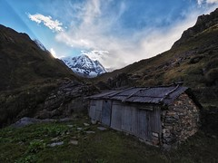 Clouds Clearing Over The Annapurnas (tim_k1) Tags: sheep shed shack hut pro f28 714mm microfourthirds m43 one pen em1 olympus mountain asia travelling backpacking walking walk climb trek trekking hike hiking travel sunshine sunlight rays clearing sky blue sun weather cloud top summit 8000m himalayas mountains annapurnabasecamp abc annapurna nepal