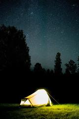 home sweet home (wildpik) Tags: tent flash light stars heaven sky blue yelow night trees