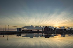 Evening light and reflections - Explored! (Jo Evans1 - off and on for a while) Tags: prince wales dock swansea zoom burst effect clouds natural reflections water evening twilight sunset smq