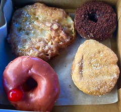 donuts from Rise Biscuits Donuts Raleigh NC (Fuzzy Traveler) Tags: apple fritter applefritter raspberry donut doughnut chocolate cheerwine sweet pastry dessert breakfast food risebiscuitdonut raleigh northcarolina restaurant